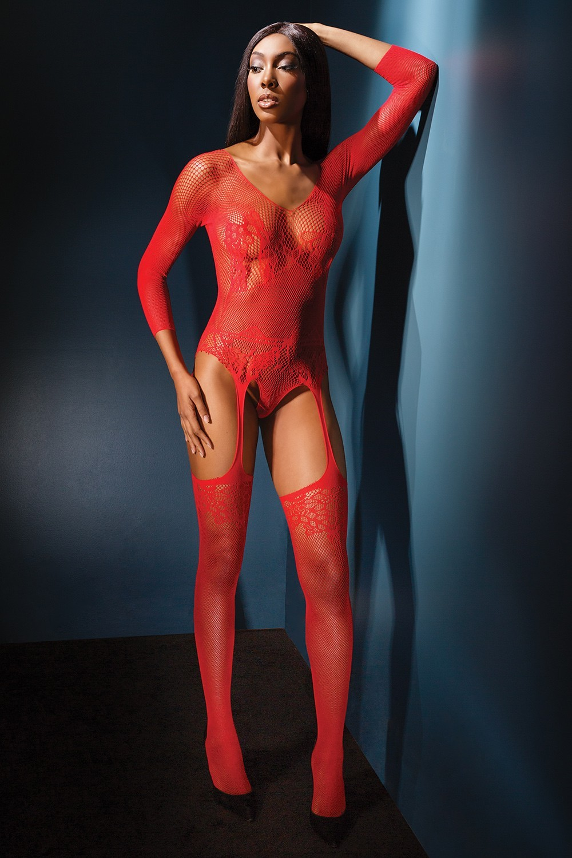 Body s čarapama 2555 crveni