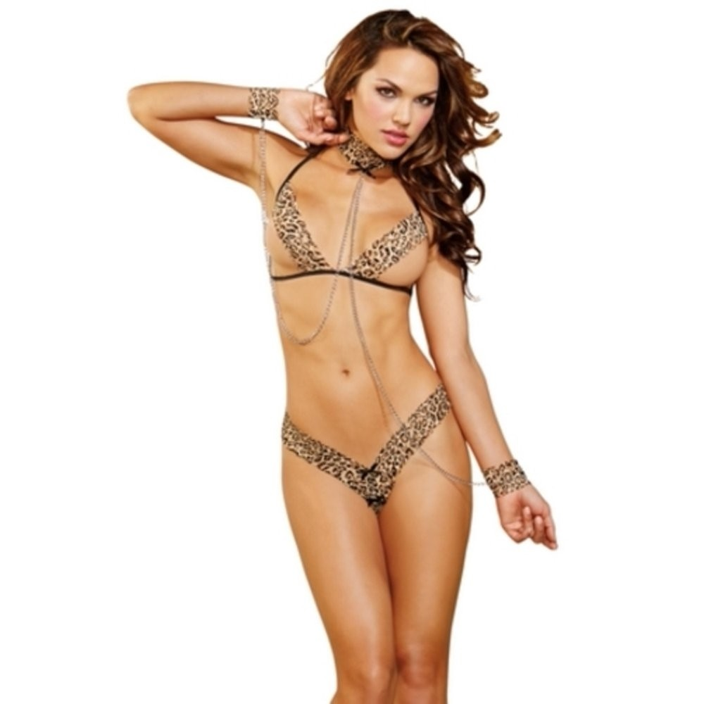 Leopard Print Halter Bra With Matching Crotchless Thong